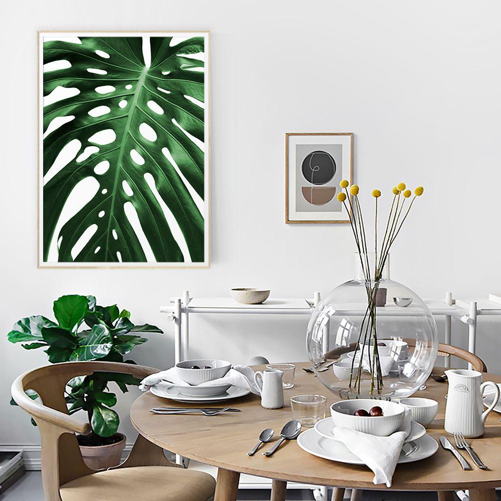 big monstera leaf printable wall art digital download green big