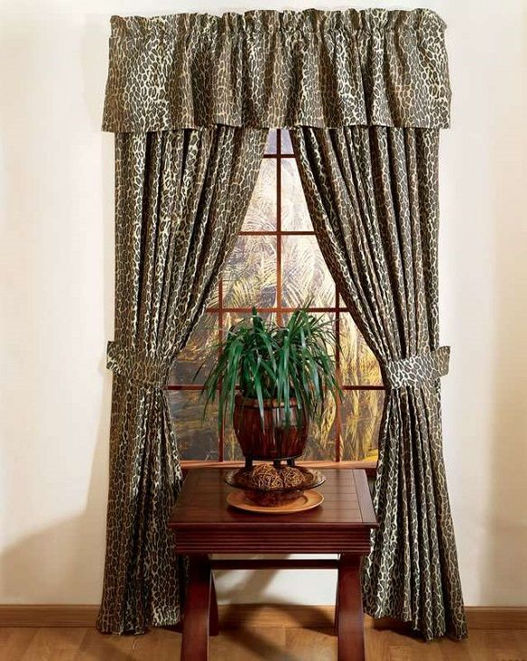 rod pocket curtains with leopard pattern
