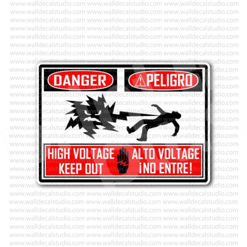 From 4 00 Buy Danger Peligro High Voltage Keep Out Sign Sticker At Print Plus In Stickers Danger Warning At Print Plus Sticker Sign Keep Out Signs High Voltage