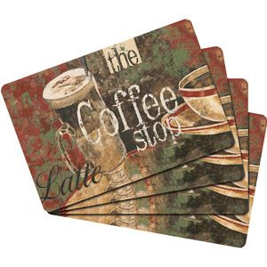 studio art coffee shop cork placemats set of 4 - Cork Cafe Decor