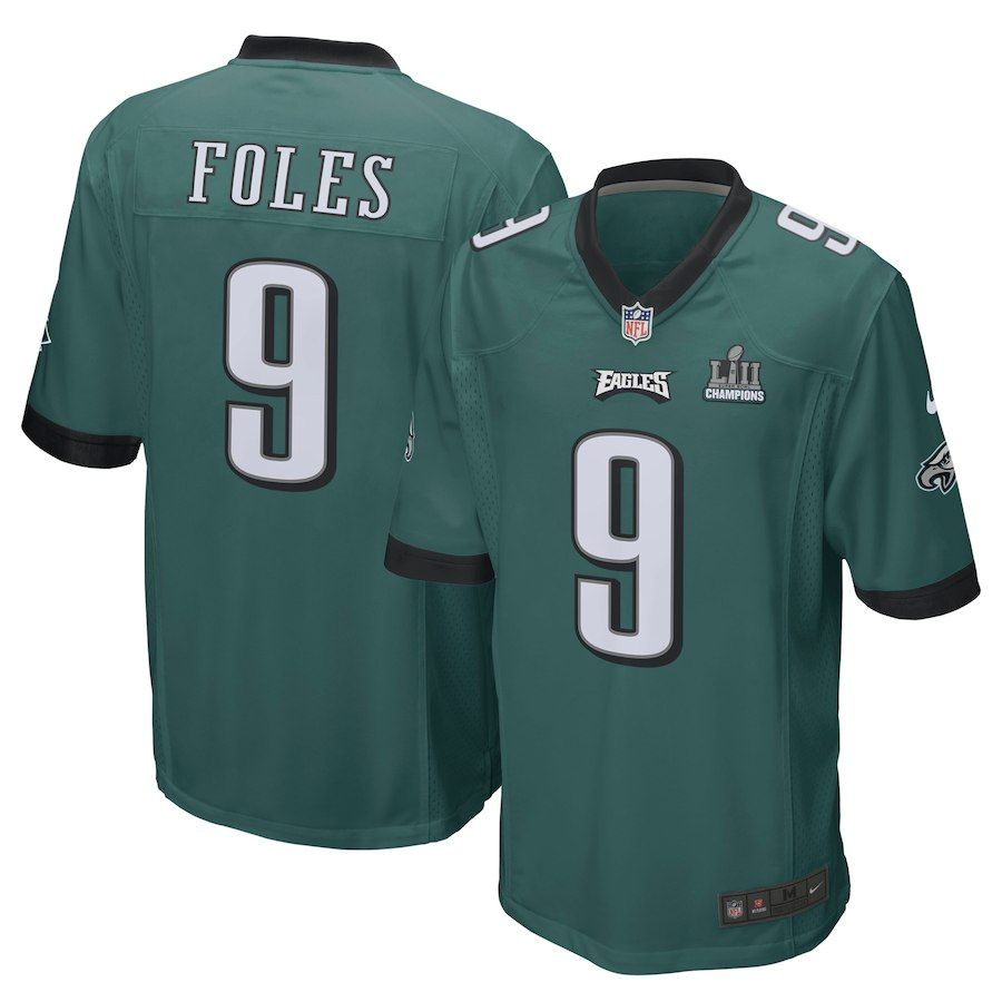 446c40a60 Nick Foles Philadelphia Eagles Nike Super Bowl LII Champions Patch Game  Jersey – Midnight Green