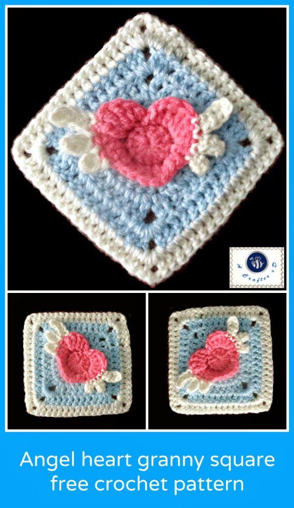 crochet winged heart granny square, crochet angel heart, heart granny square