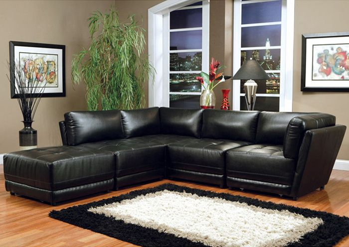 Jennifer Convertibles Sofas Sofa Beds Bedrooms Dining Rooms More Kayson Black Modular Sectional Bonded Leather