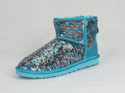 Rainbow Uggs Snow Boots Colorful Shorts Green Sequin Glitter