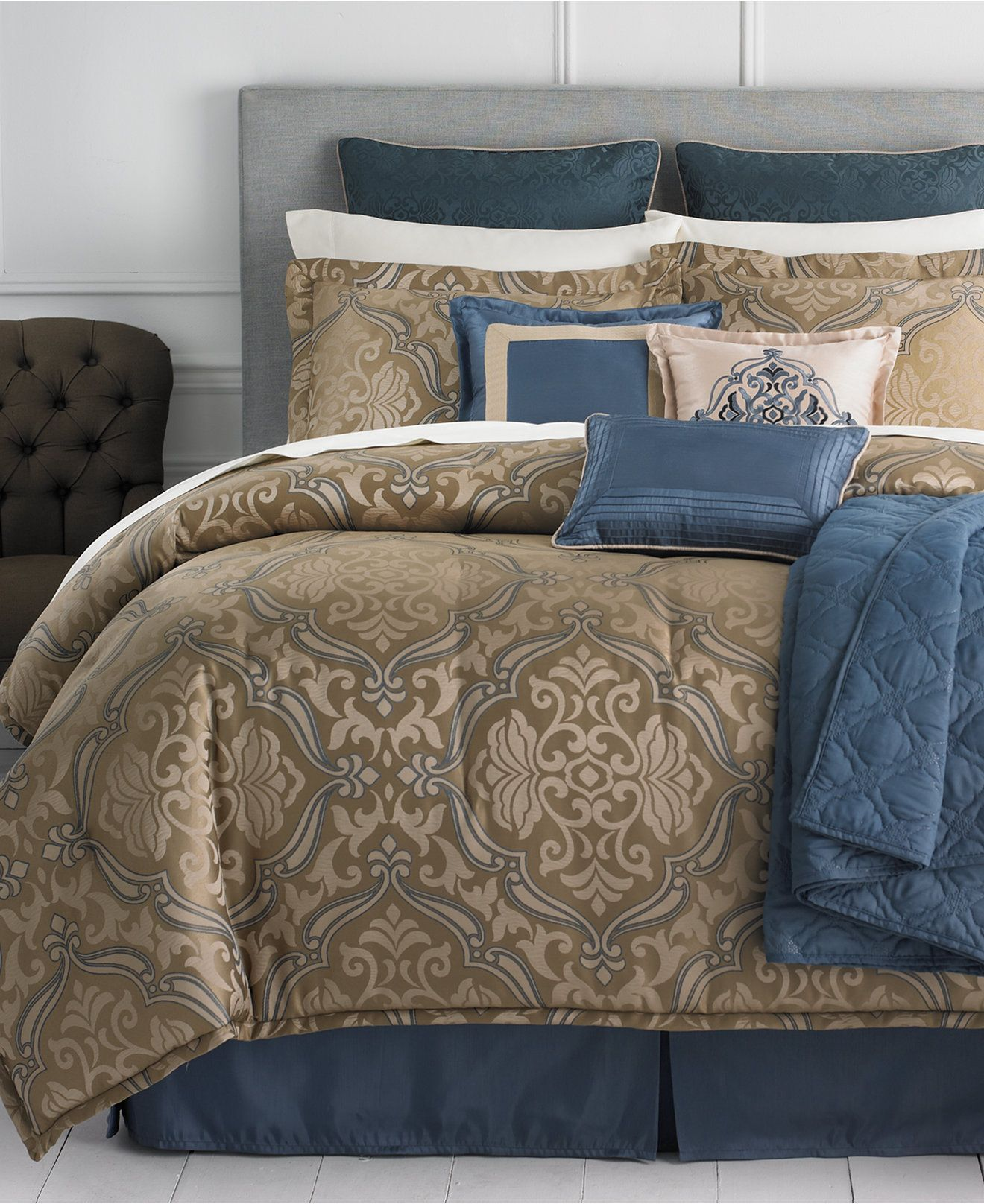 martha stewart collection hampton 22 piece comforter sets - bed in