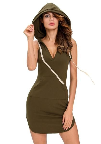 30d131c7d6583d Make a statement in your sportswear with this olive green sleeveless hoodie  dress.