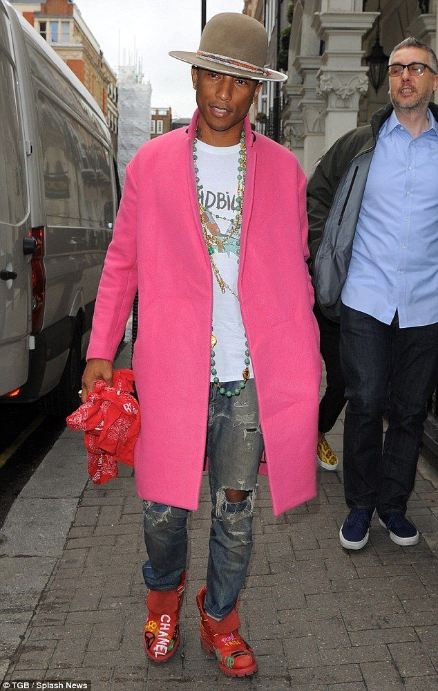A busy man: Pharrell was spotted in London's Dover Street less than 24 hours after his US ...