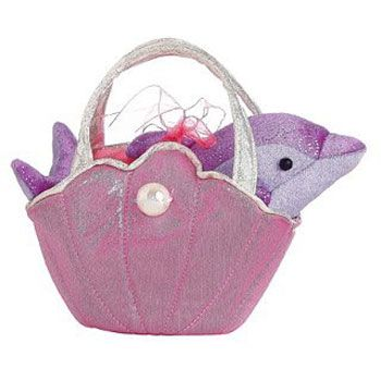 Aurora World Plush - Fancy Pals Pet Carrier - SHELL PINK (7 inch) (Pre-Order ships August)