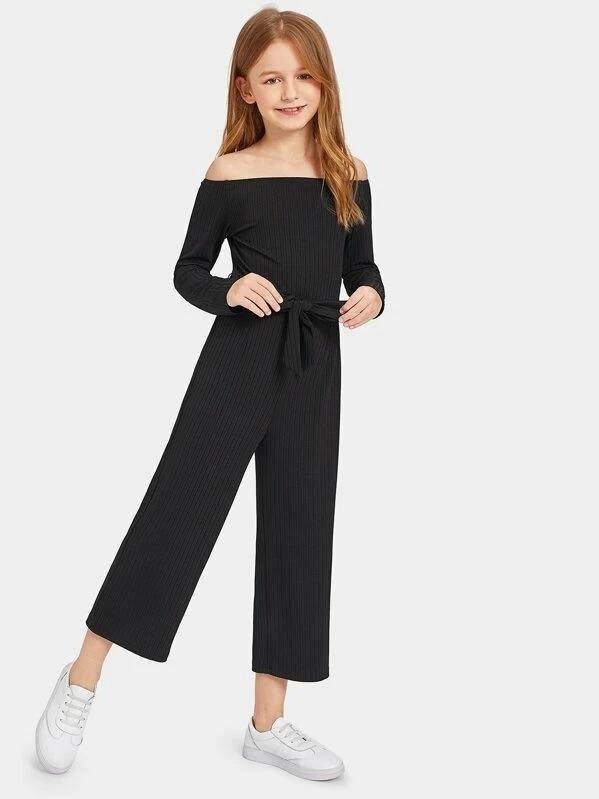 Girls Off Shoulder Self Belted Rib Knit Jumpsuit