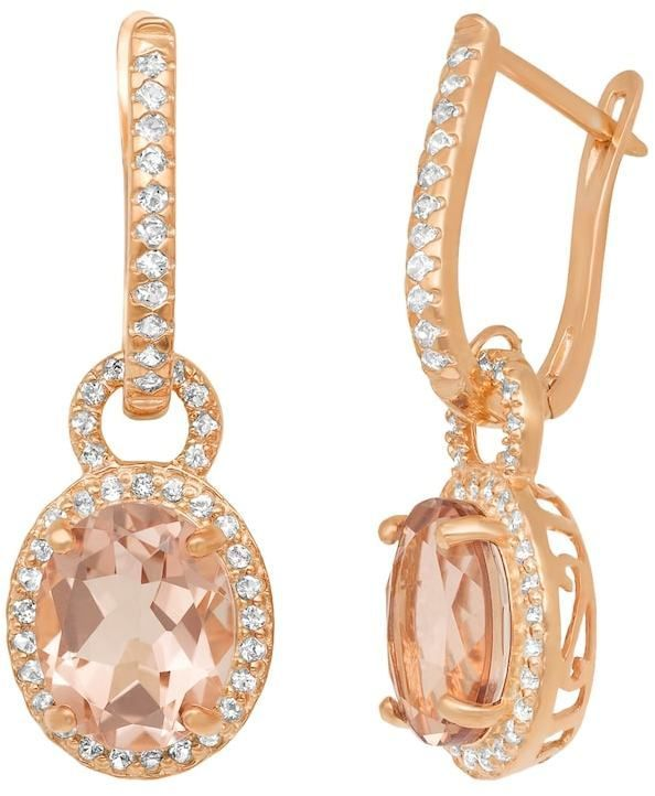 Fine Jewelry Simulated Morganite & Lab Created White Sapphire 14K Rose Gold Over Silver Earrings OoXox4F