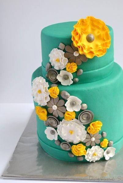 Teal and yellow wedding cake