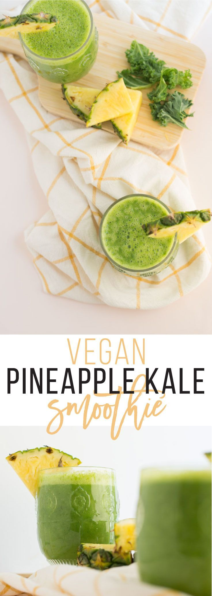 Vegan Pineapple Kale Smoothie -- Whip up this quick and healthy smoothie recipe with only FOUR ingredients! Perfect way to get a taste of the tropics AND your fruit and veggie intake! Pineapple Kale Smoothie -- Whip up this quick and healthy smoothie recipe with only FOUR ingredients! Perfect way to get a taste of the tropics AND your fruit and veggie intake! | mindfulavocado