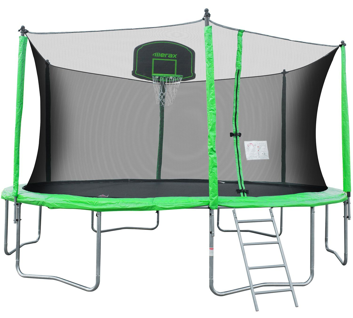 merax 14 u0027 trampoline with basketball hoop safety enclosure and