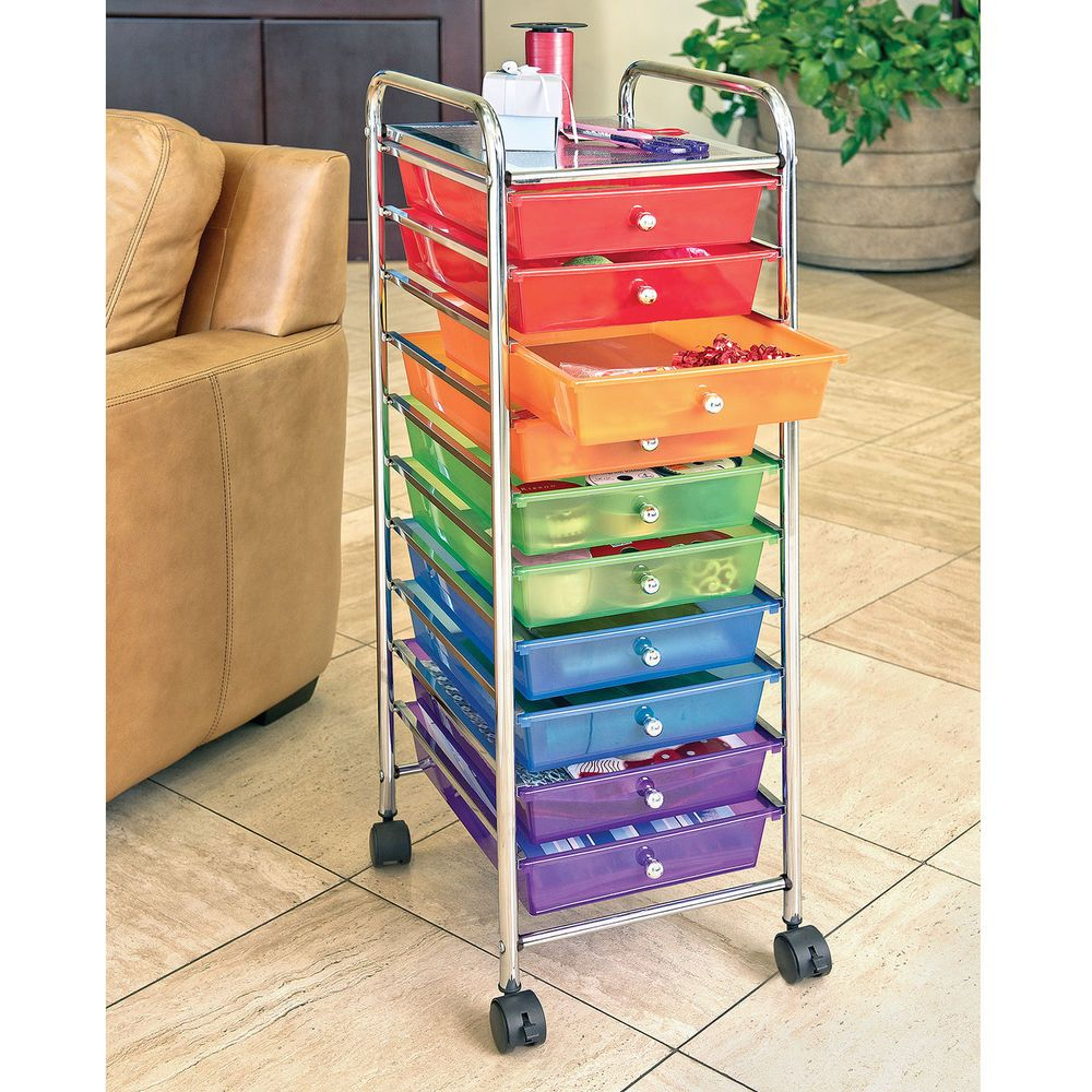 rolling carts for office. Rolling Cart 10 Color Drawer Wheels Optimum Organizer Plastic Metal Home Office #CabinetHome Carts For