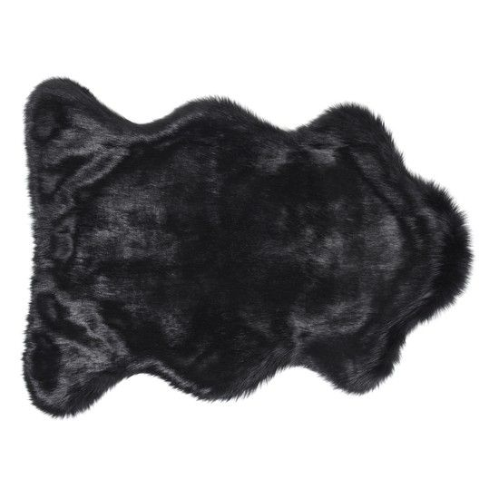 black faux fake animal skin rug for floor or bed available in three sizes
