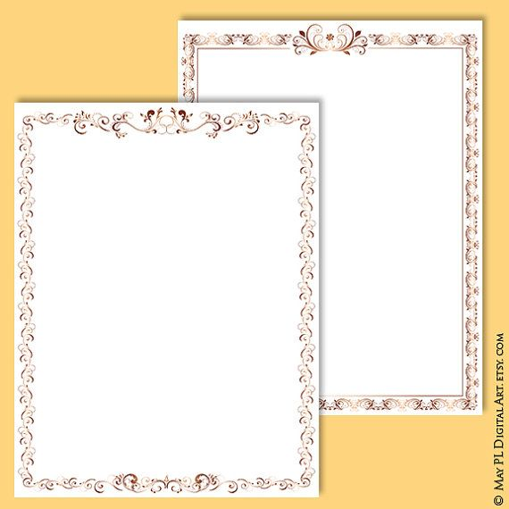 page borders rose gold document frame 8x11 retro ornate flourish frames award certificate clip art antique digital download vector