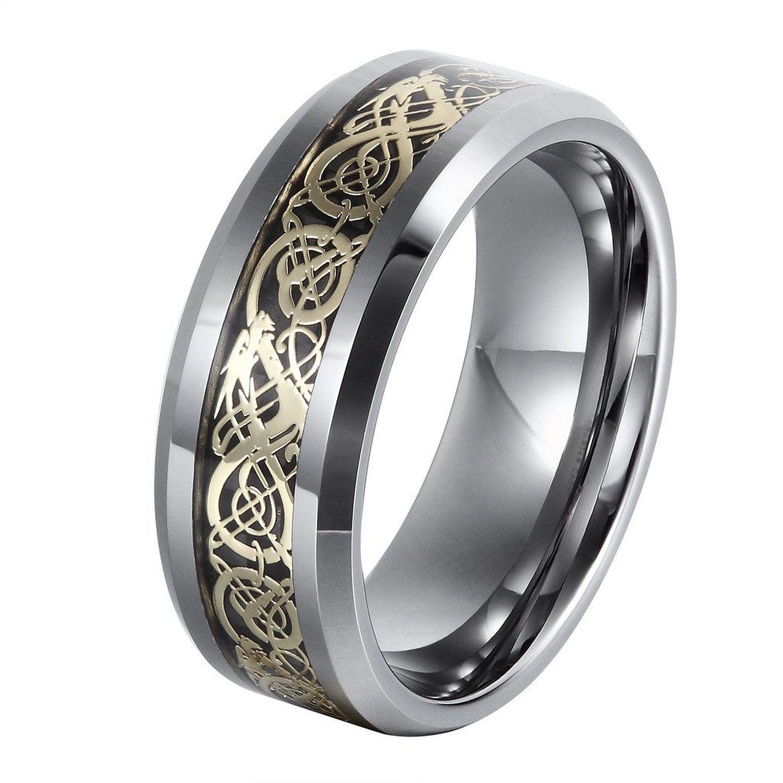 L Ring 8MM Men s Tungsten Wedding Ring Gold Plated Celtic Dragon