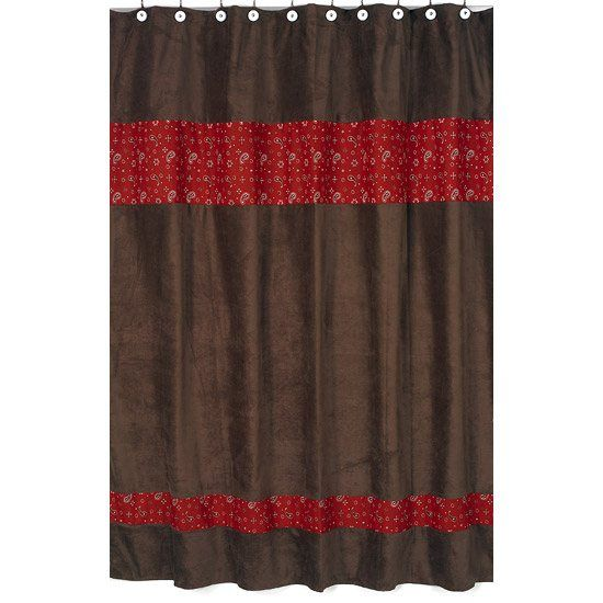 Wild West Cowboy Red And Brown Western Bandana Print Shower