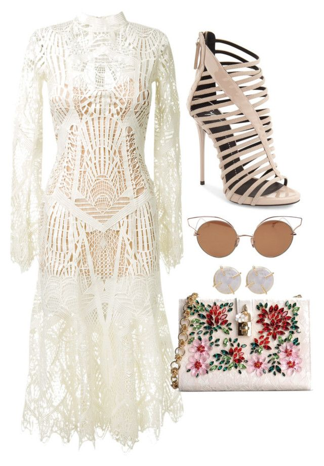 Nude & White Lace by carolineas on Polyvore featuring polyvore, fashion, style, Jonathan Simkhai, Giuseppe Zanotti, Dolce&Gabbana, Melissa Joy Manning, Dita and clothing