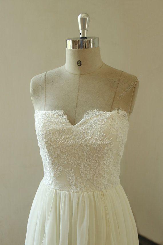 63008aae7045b Cream ivory A line chiffon lace wedding with sweetheart neckline ...