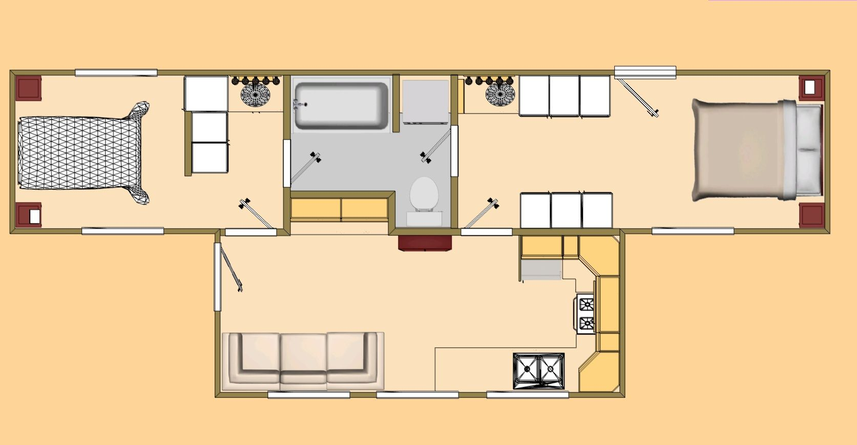 Container home floor plans com 480 sq ft shipping for Stepped house plans