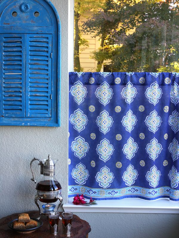 Blue Curtain Kitchen Curtains Vintage Curtain Sheer Cotton Curtain Panel Vintage Curtains Cafe Curtains Kitchen Curtains