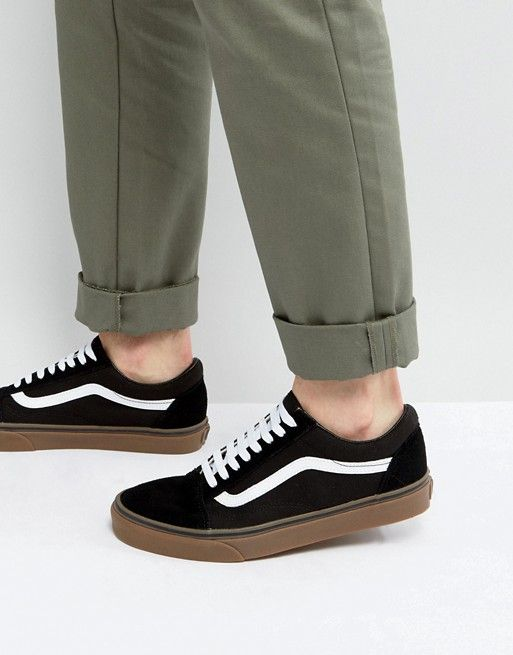 vans old skool black gum sole