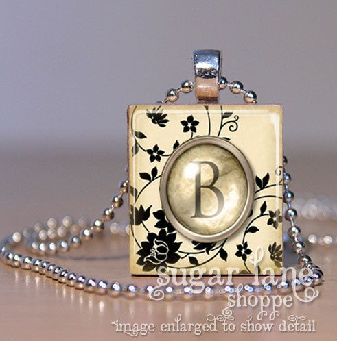 NEW  Monogram Initial Necklace  Black and Ivory by SugarLaneShoppe, $6.95