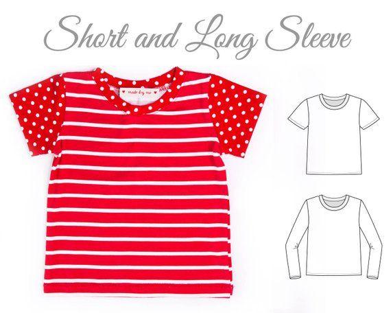 Tshirt pattern pdf, kids top pattern, tshirt sewing pattern pdf, girls tshirt pattern, boys tshirt pattern, TSHIRT SEMI FIT