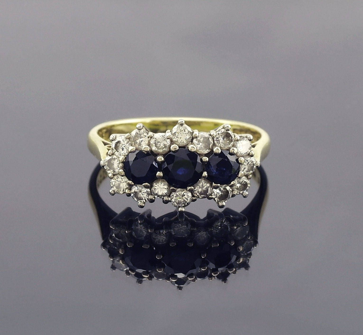 Vintage Sapphire Diamond Gold Ring Size 7 Us O Uk Vintage Engagement Ring Gift For Her Pre Owned With Images Vintage Sapphire Ruby Engagement Ring Vintage Engagement Ring Gift