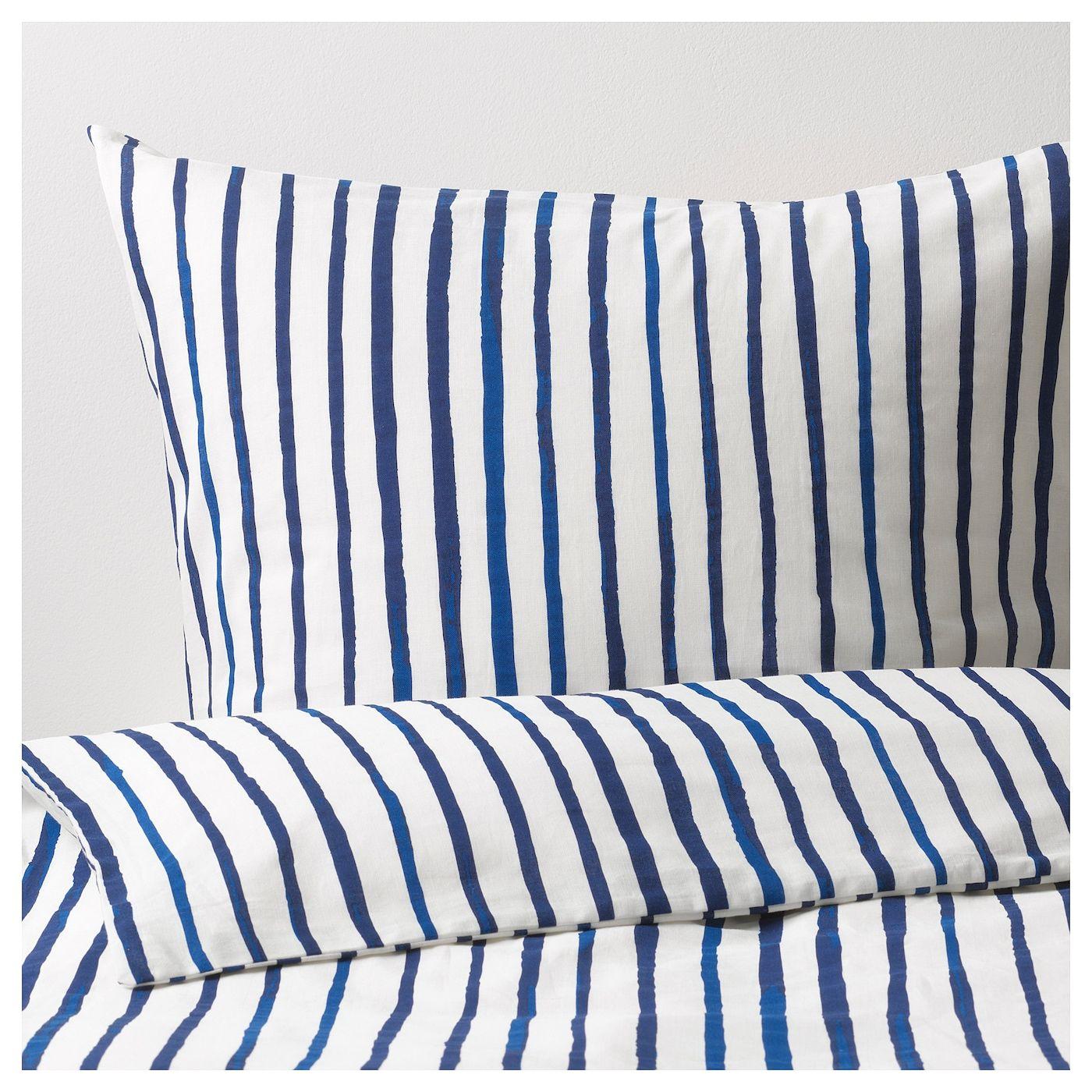 Ikea Federe Cuscini Divano sÅnglÄrka påslakan 1 örngott - randig, blå vit 150x200/50x60