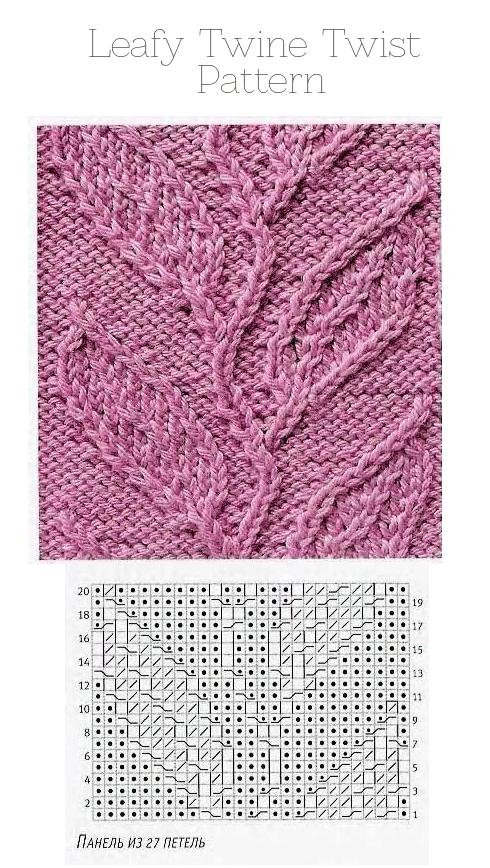 twist on leaf vine stitch   graph   cables celtas   Pinterest   Dos ...