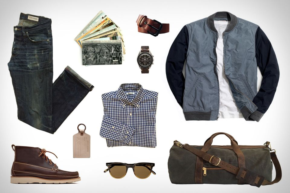 Gustin Navy Baby Gingham Shirt ($76). Gustin Japan Denim Jeans ($89). Gustin Black Roller Belt ($51). Gustin Duffle Bag ($127). Oak Street Bootmakers Camp Boot ($348). J.Crew Wallace & Barnes Bomber Jacket ($188). Corter Leather Luggage Tag ($18). Garrett Leight...