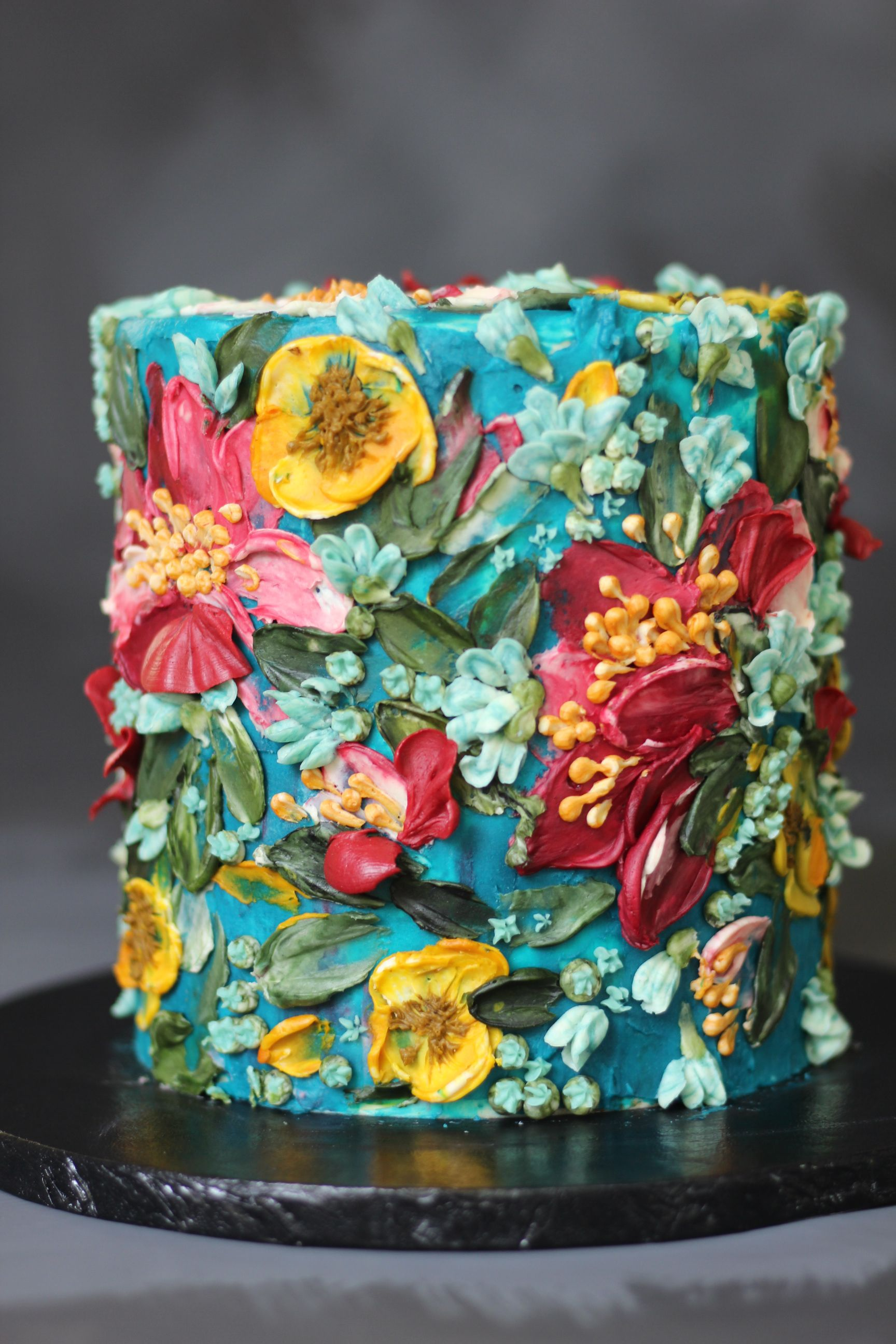 Painted buttercream flower cake by Emma Page Buttercream Cakes London #celebrationcakes