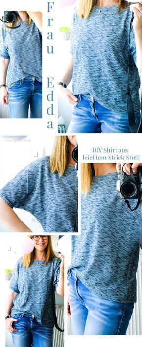 DIY Sommer Shirt aus leichtem Strick Stoff | Frau Edda Shirt