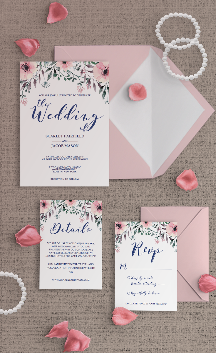 This watercolor wedding invitation suite is the perfect set for a ...