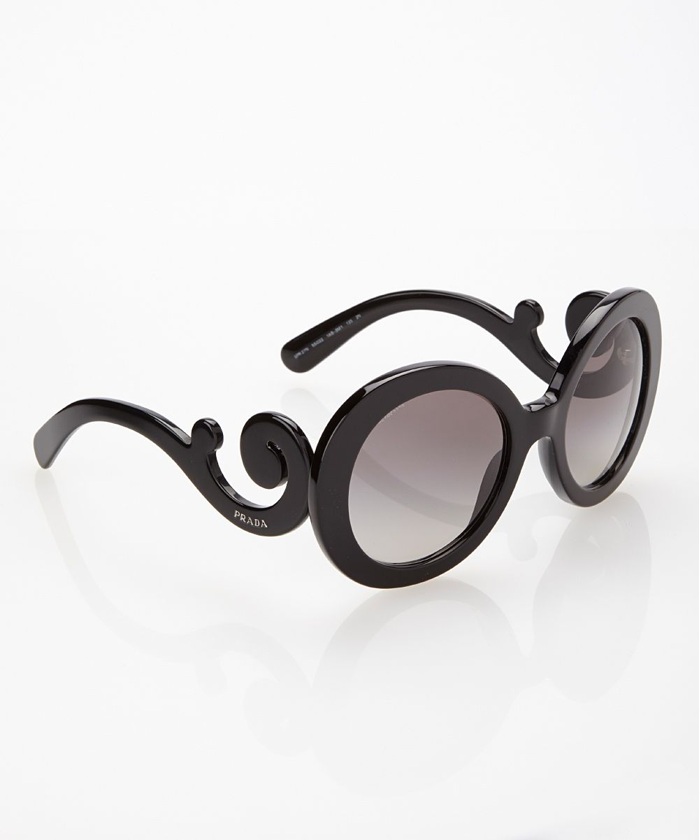 9d8450460bae Black   Gray Round Flourish Sunglasses