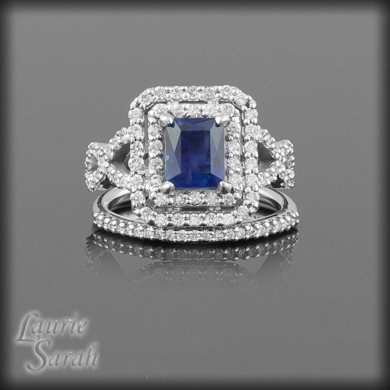 Emerald Cut Blue Sapphire Wedding Set With Double Halo Twisted Shank And Half Eternity Band