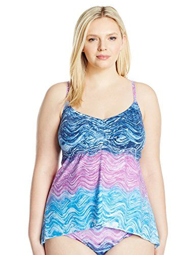 51e436050c9 Introducing BECCA ETC Womens Plus Size Cosmic Hand Dyed Marble Effect Over  the Shoulder Handkerchief Tankini Water 3X. Great product and follow us for  more ...