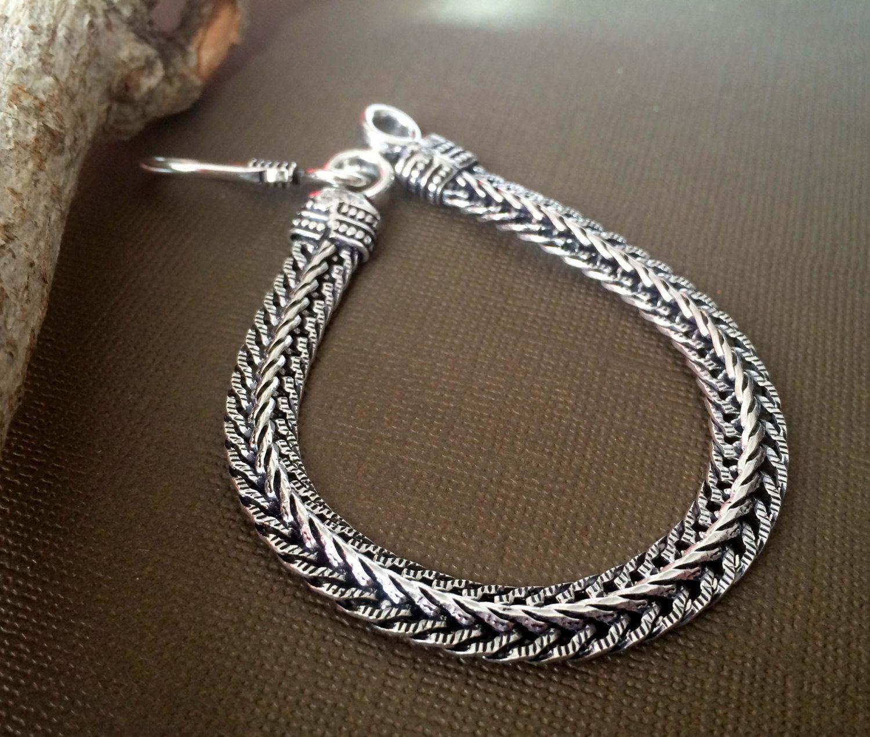 Men\'s Silver rope chain bracelet, Men Silver bracelet, Modern ...