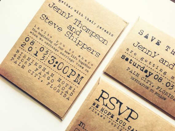 Typewriter Wedding Invitation Set Kraft Paper By Annspaperie 4 20
