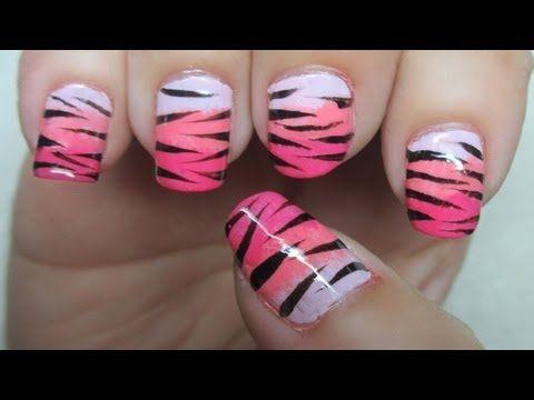 Beautiful Zebra/Tiger Print Nail Art tutorial :)