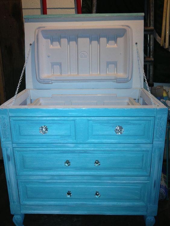 Old Blue Dresser DIY Ice Chest