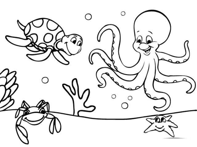 10 Mewarnai Gambar Hewan Laut Bonikids Coloring Page Pinterest