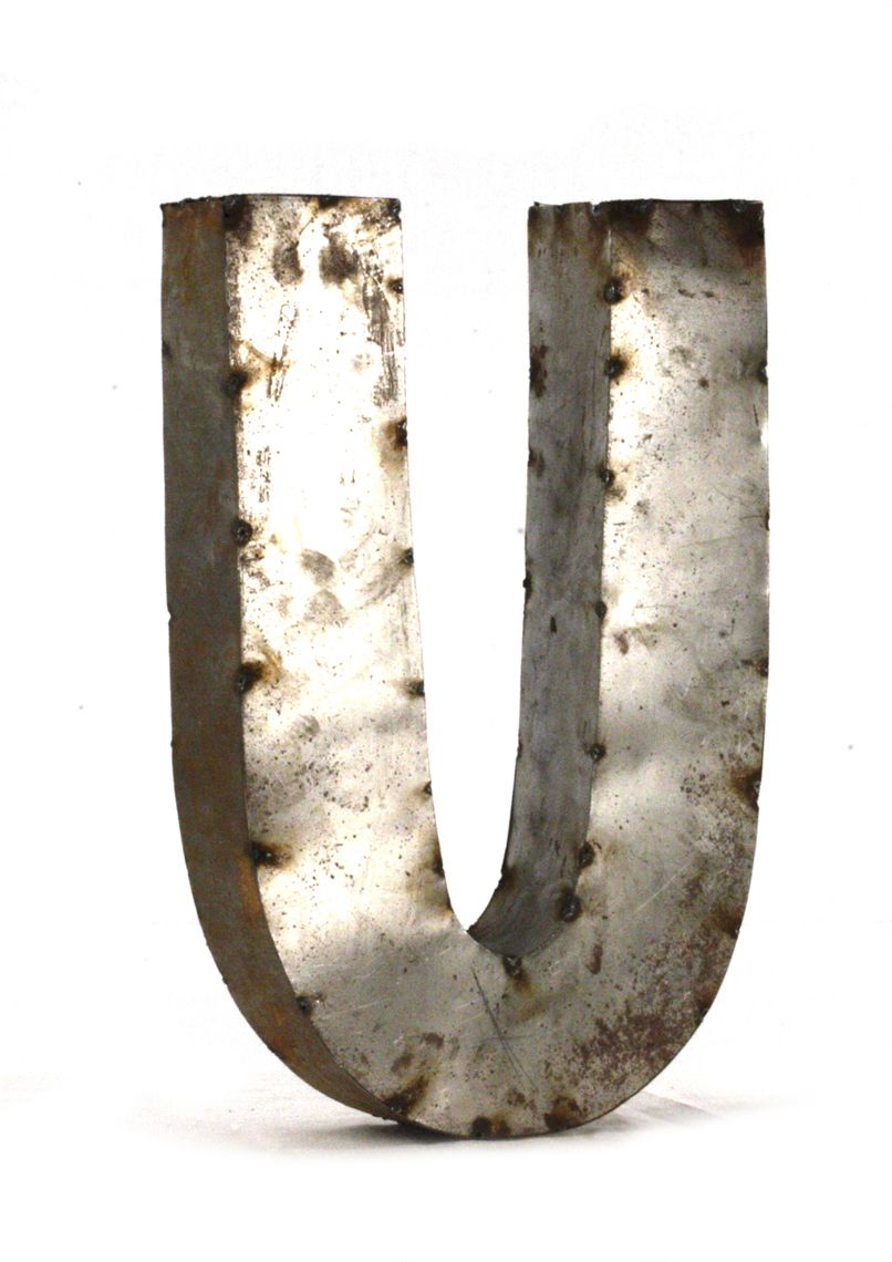Rustic Metal Letters Small Letter U 18 H
