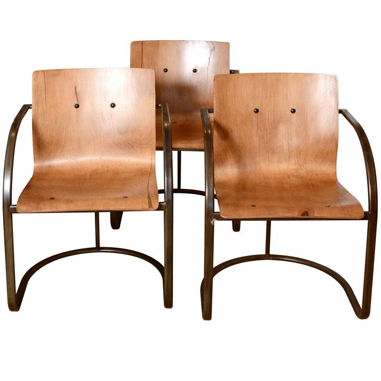 1960's French Ashwood Chairs with Steel Base / 1stdibs ...