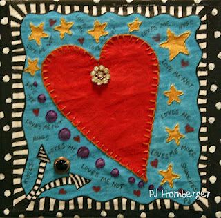 small fabric painting/art quilt by PJ Hornberger 2011