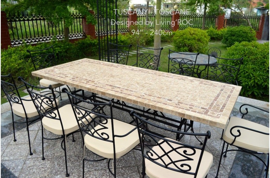 78 Outdoor Patio Dining Table Italian Mosaic Stone Marble Tuscany Outdoor Stone Italian Patio Outdoor Garden Furniture