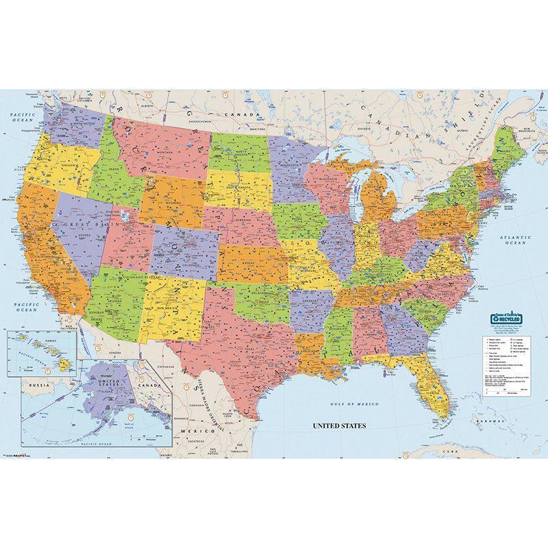 UNITED STATES LAMINATED MAP 50X33 maps Pinterest United