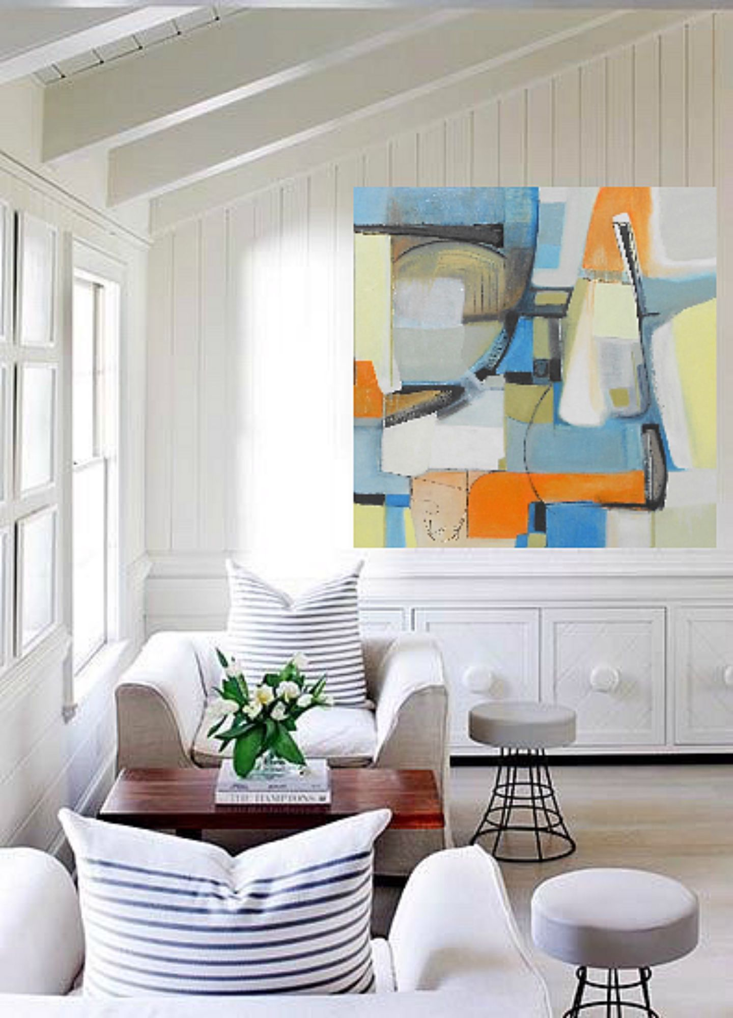 Living Room Painting Design: Bold Colorful Large Abstract Art Oil Painting By Fine